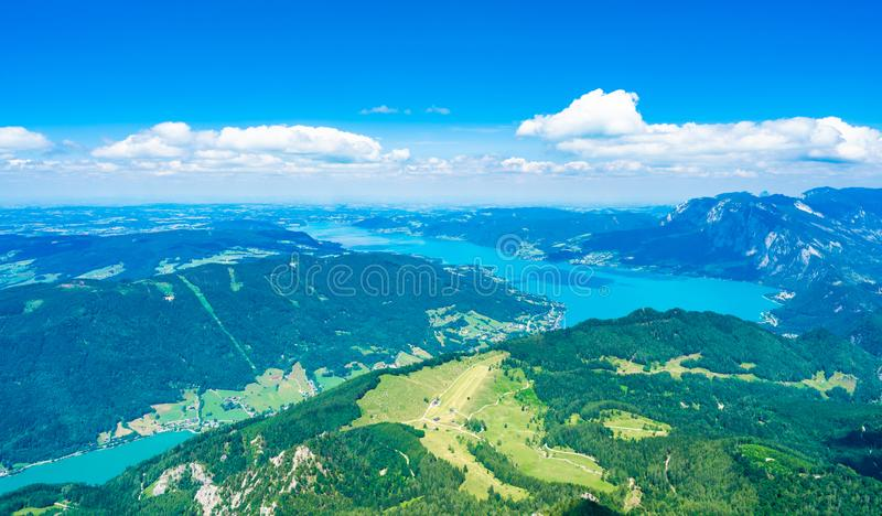 View of Attersee lake, Austria. View of Attersee lake from Schafberg mountain, Austria royalty free stock images
