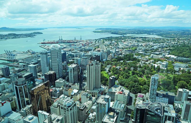 View at Auckland Bay. Downtown of Auckland, New Zealand stock photo