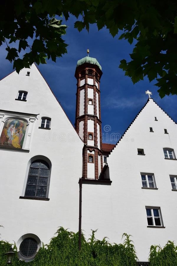 View in Augsburg, Germany. View ob a historic tower in Augsburg, region Swabia, Germany stock image