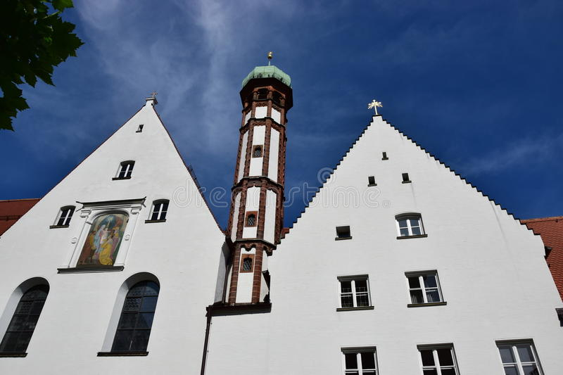 View in Augsburg, Germany. View ob a historic tower in Augsburg, region Swabia, Germany royalty free stock images