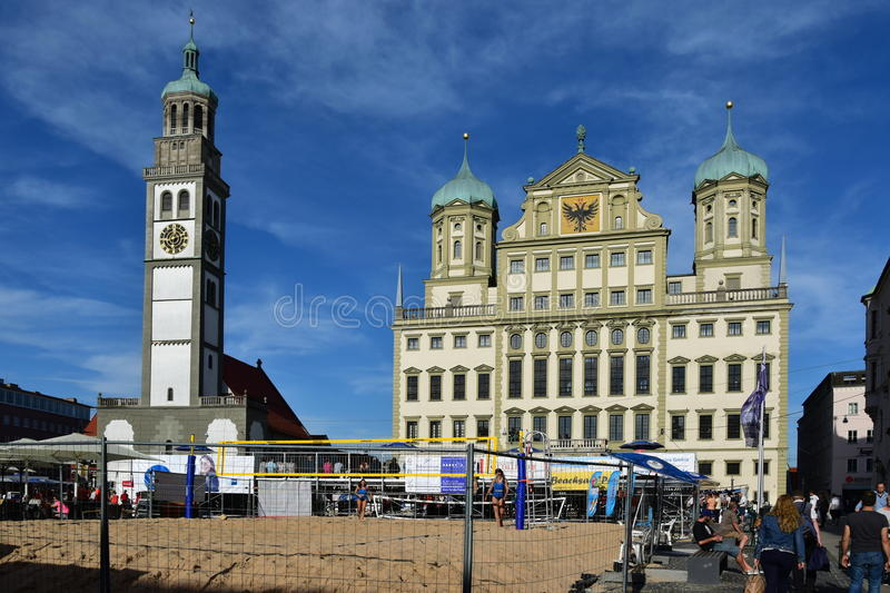 View in Augsburg, Germany. View in Augsburg, region Swabia, Germany stock photo