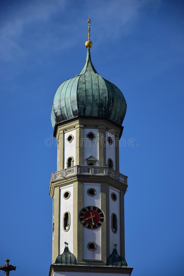 View in Augsburg, Germany. View in Augsburg, region Swabia, Germany stock image