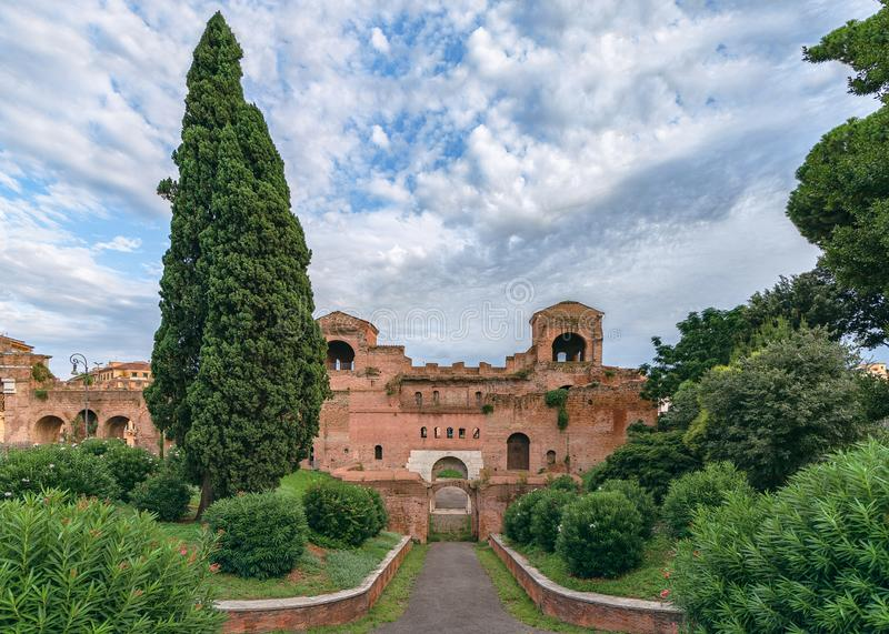 View of Aurelian Walls in Rome, Italy. The ancient Roman fortress walls of Rome, Italy royalty free stock image