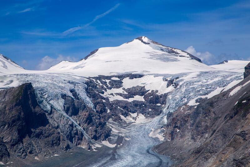 View of a snowy large glacier in Austria royalty free stock image