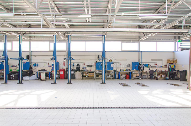 View of automobile repair shop stock photography
