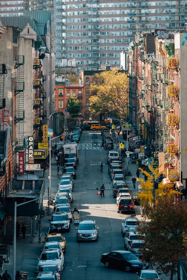 View of autumn color in Chinatown, from the Manhattan Bridge, in New York City royalty free stock photos