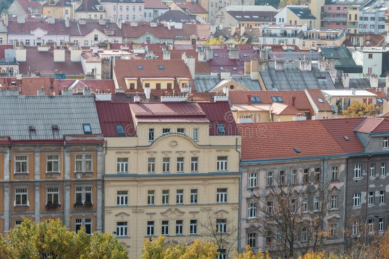 Beautiful European cityscape with classic red roofs stock images