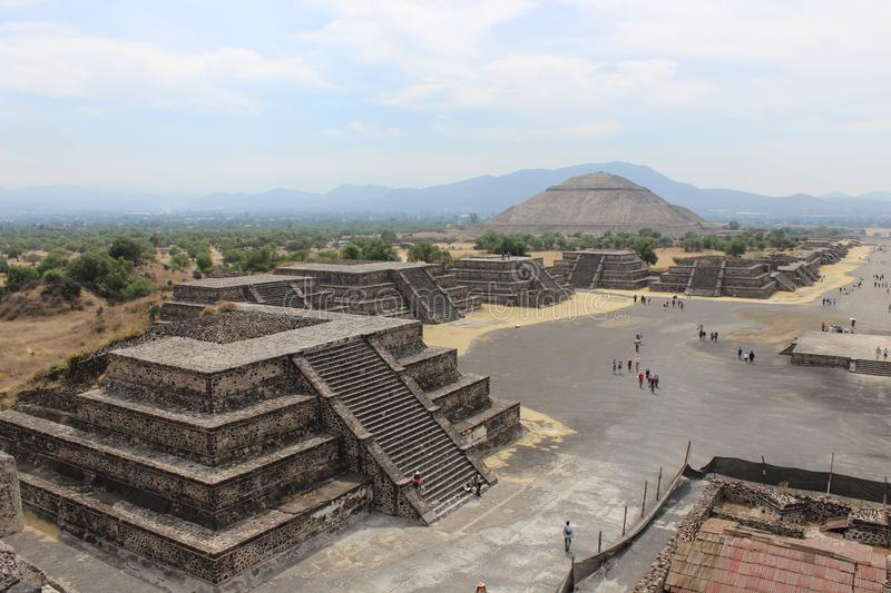 View of the Avenue of the Dead and the Pyramid of the Sun in the city of Teotihuacan stock photo