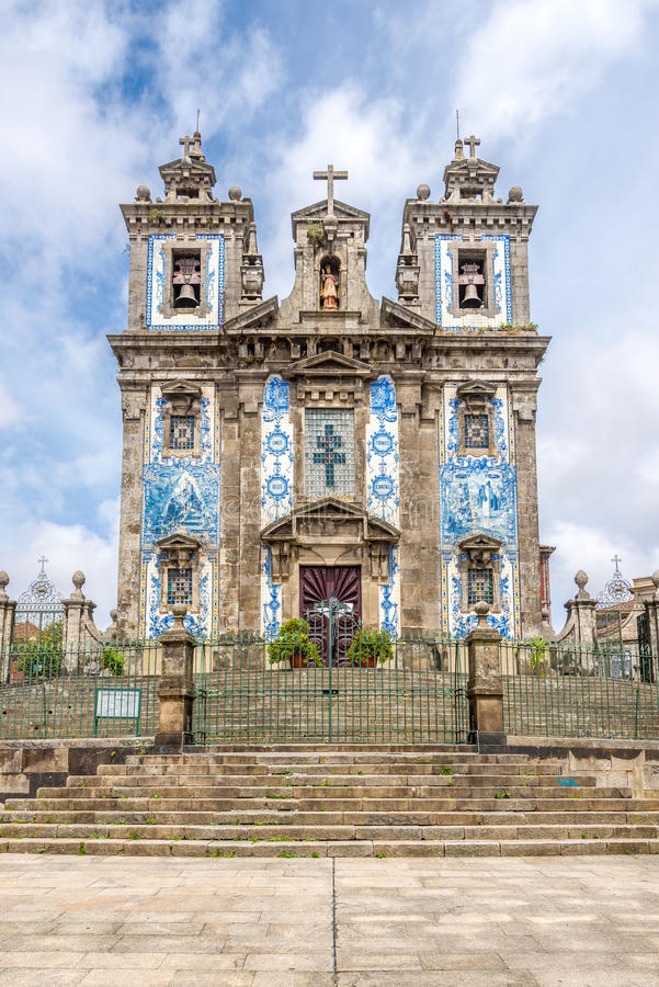 View at the azulejo decorated facade of church Saint Ildefonso in Porto ,Portugal. View at the azulejo decorated facade of church Saint Ildefonso in Porto stock photo