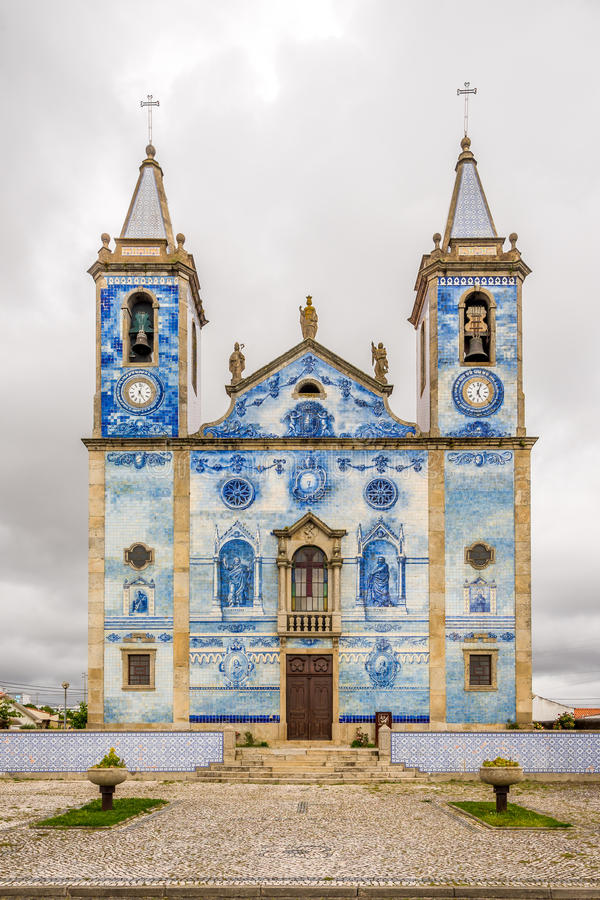 View at the azulejo decoration facade church Santa Marinha in Cortegaca ,Portugal. View at the azulejo decoration facade church Santa Marinha in Cortegaca stock photo