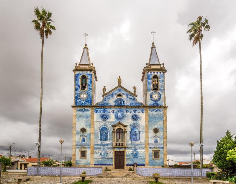 View at the azulejo tiles decoration facade church Santa Marinha in Cortegaca ,Portugal. View at the azulejo tiles decoration facade church Santa Marinha in royalty free stock images
