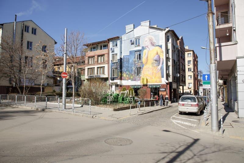 View of Bacho Kiro Street in Sofia, Bulgaria. Sofia, Bulgaria - March 04, 2019: View of Bacho Kiro Street in Sofia, Bulgaria. Photo taken on: March 04th, 2019 stock images