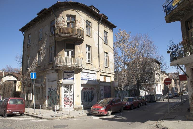 View of Bacho Kiro Street in Sofia, Bulgaria. Sofia, Bulgaria - March 04, 2019: View of Bacho Kiro Street in Sofia, Bulgaria. Photo taken on: March 04th, 2019 stock photos