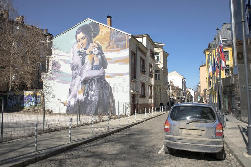 View of Bacho Kiro Street in Sofia, Bulgaria. Sofia, Bulgaria - March 04, 2019: View of Bacho Kiro Street in Sofia, Bulgaria. Photo taken on: March 04th, 2019 royalty free stock photography
