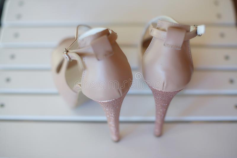 View from the back of an elegant high heel peep toe pumps shoes, with stiletto heel and ankle strap fastening stock photo