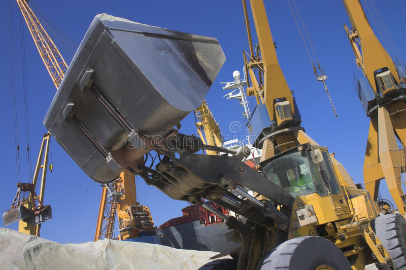 View of a Back Hoe. With bottom of cranes stock image