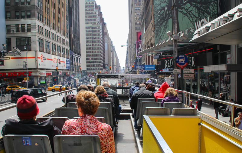 View from back of top deck on open roofed tour bus stock photos