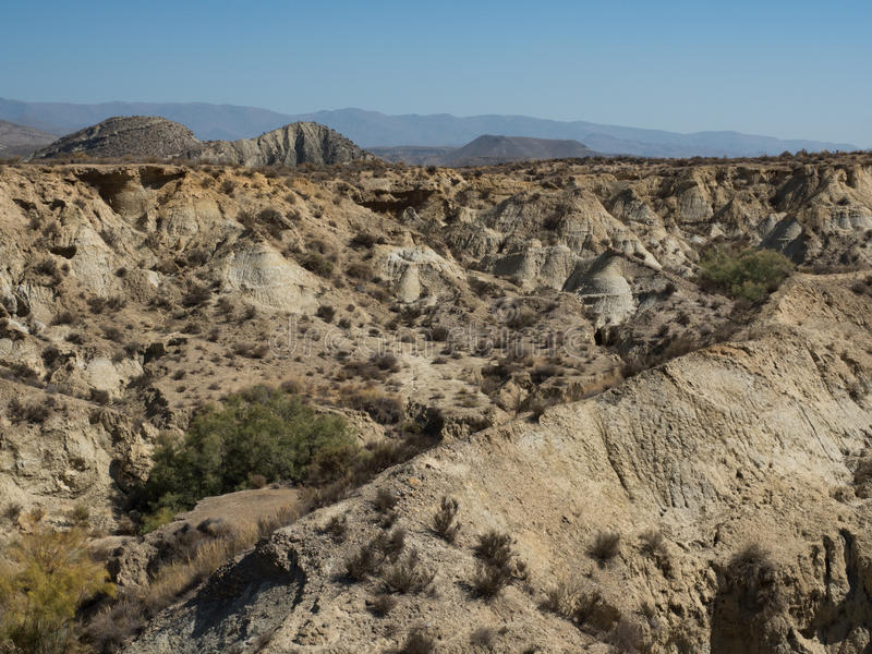 View of the Badlands in the Tabernas Desert royalty free stock photo