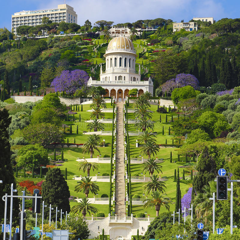 View of Bahai gardens and the Shrine of the Bab on mount Carmel stock photo