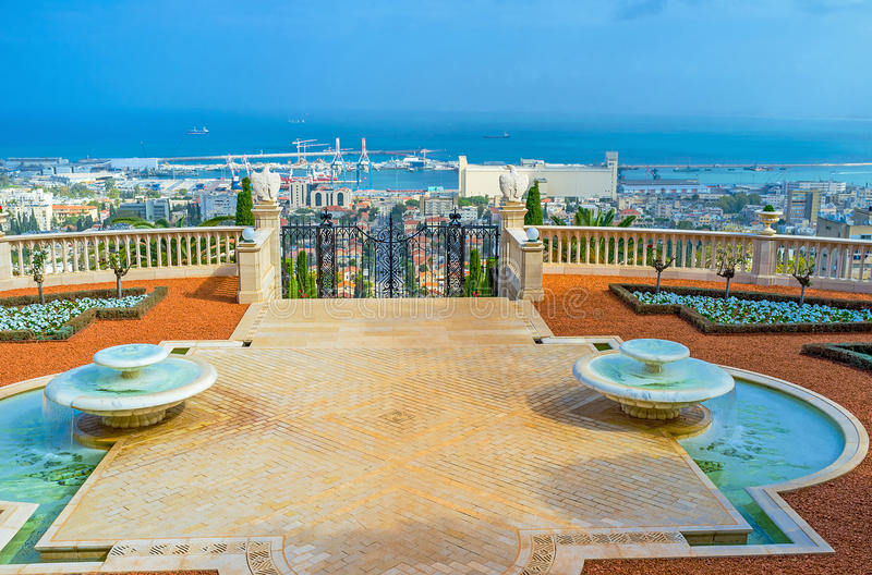 The view from Bahai terrace. The terrace of Bahai Garden is the best place to overlook Haifa districts, located at the foot of Carmel Mount, Israel stock photography