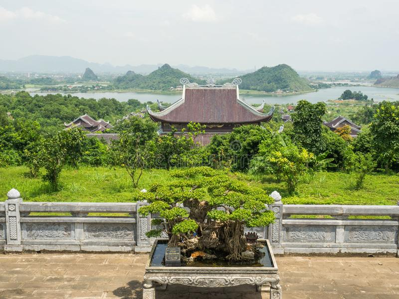 View on Bai Dinh temple in Ninh Binh stock photo