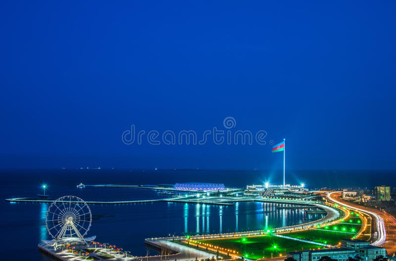 View of Baku. At night royalty free stock photography