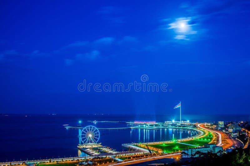 View of Baku. At night stock photo