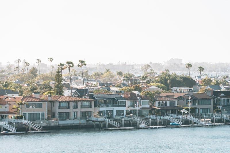View of Balboa Island from Lookout Point in Corona del Mar, Newport Beach, California.  stock photo