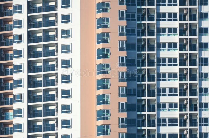 View of balconies of apartment building.New building architecture. Property and Finance Concept stock photos