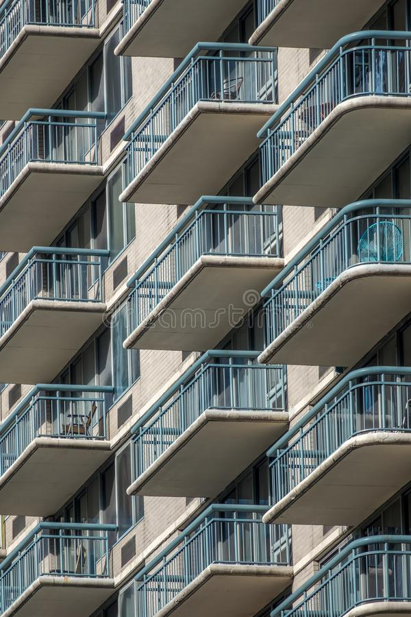 View of balconies of apartment building. In New York, NY royalty free stock photography