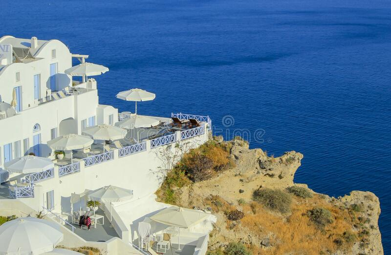 View on balconies at Oia village in the Caldera, Greece stock image