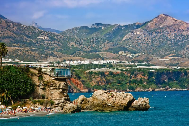 View on Balcony of Europe. Nerja, Spain stock photo