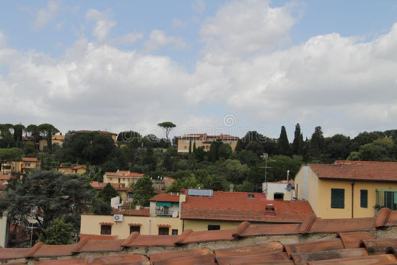 View from the balcony of the house on Fiesole, Italy. The picture was taken July 29, 2015 stock photography
