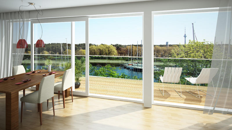 View from the balcony. Rendering of a modern luxurious living room with a beautiful view from the balcony stock illustration