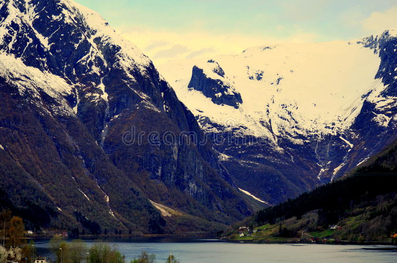 View from Balestrand, Norway. View over mountains and fjord from the small town of Balestrand, Norway stock photo