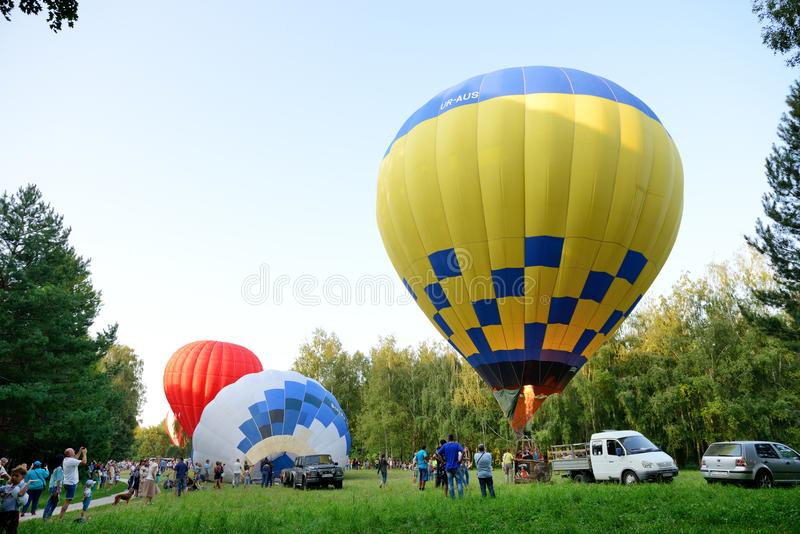 The view on balloons are over Olexandria Park royalty free stock image