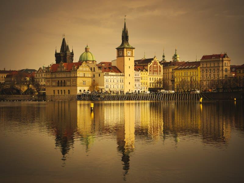 Golden Prague view from the Vltava river. stock image