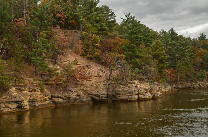 Fall on the Wisconsin River. A view of the banks of the Wisconsin River in the Wisconsin Dells in fall royalty free stock images