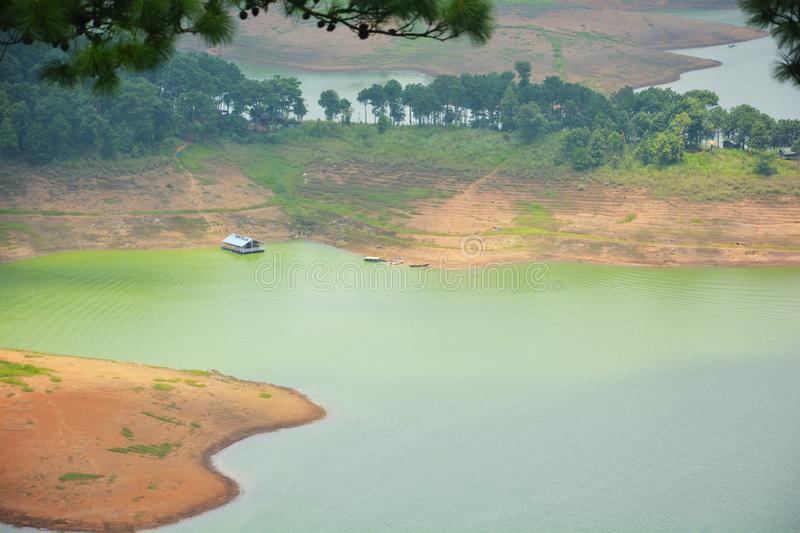 The view of Barapani Lake fron the road stock photos