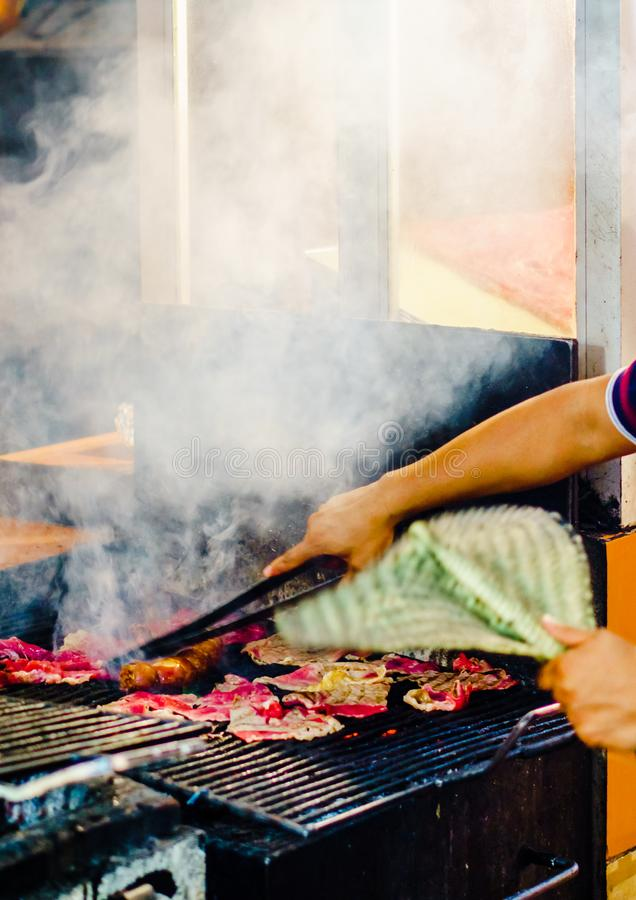 View on barbecue in Oaxaca city, Mexico. Barbecue on market in Oaxaca city, Mexico royalty free stock photo