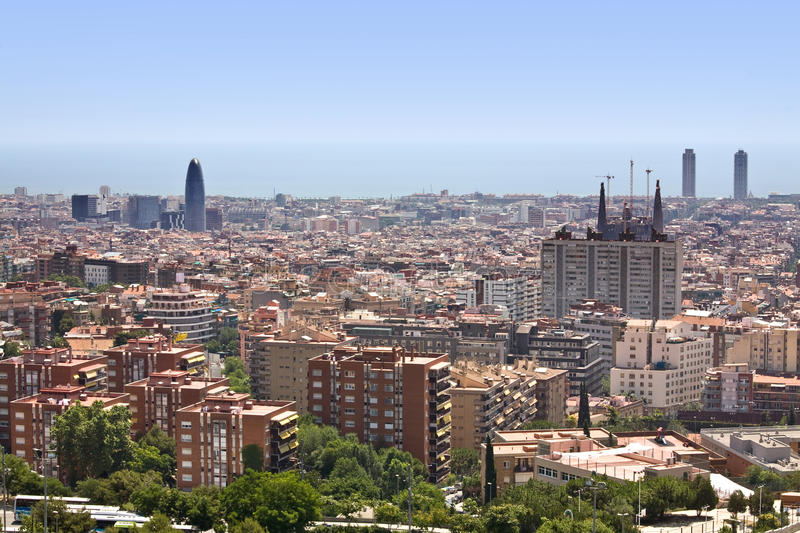 View of Barcelona. Aerial view of Barcelona and its skyline, Spain royalty free stock image