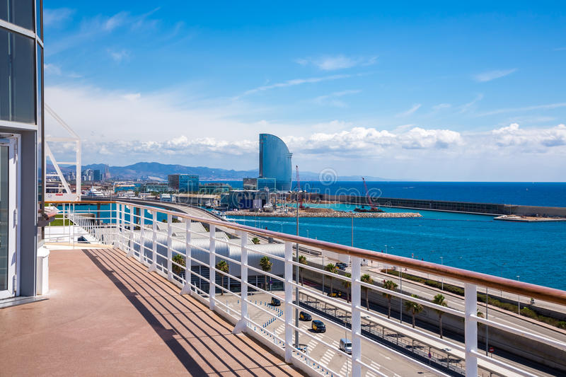 View of Barcelona from a cruise ship. Photograph of a view from a cruis ship stock image