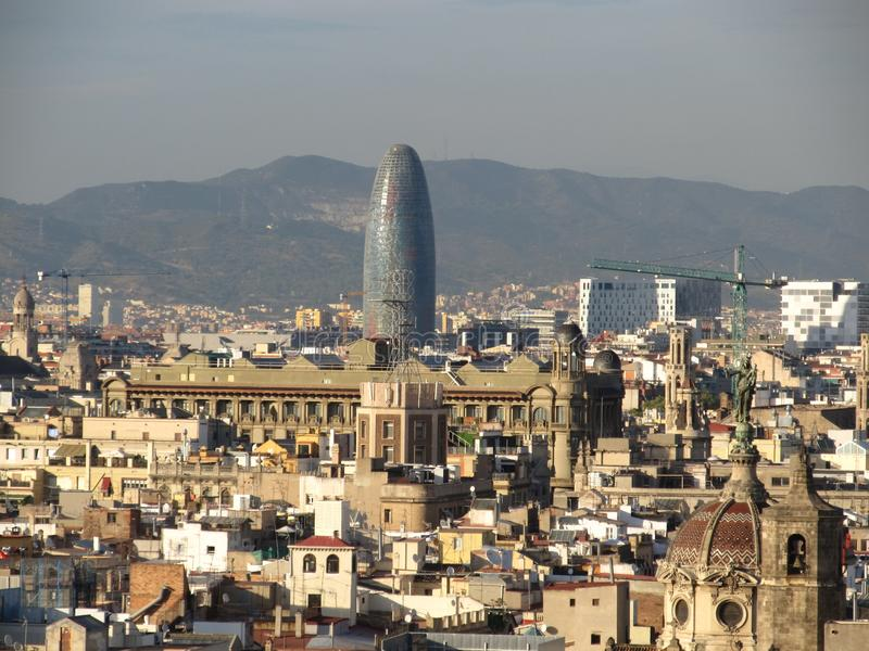 View of Barcelona from a height. Barcelona from a height. City Panarama of Barcelona. Center of Barcelona.  royalty free stock image
