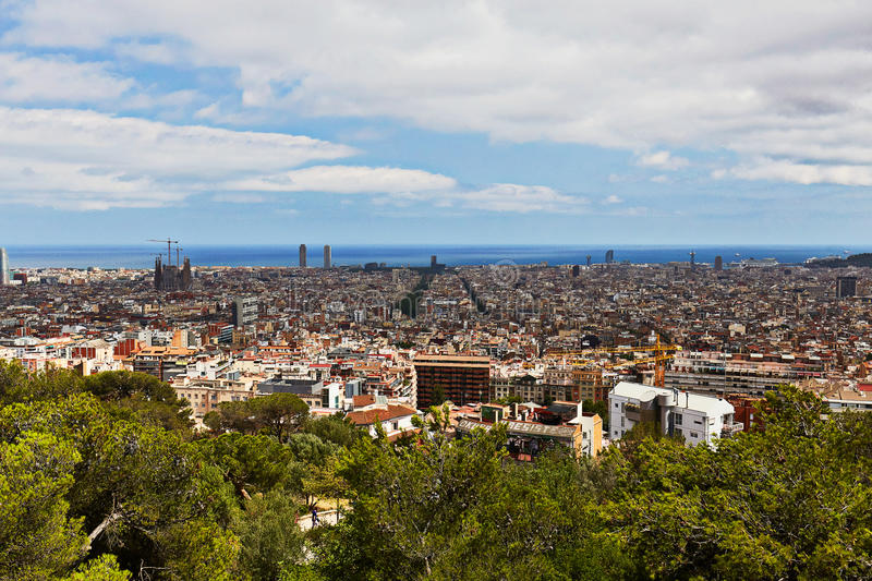View of Barcelona from Park Guell. Beautiful views of Barcelona from Park Güell stock images
