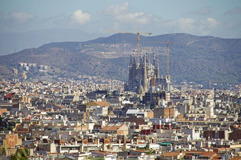 View of Barcelona with Sagrada Familia stock photos