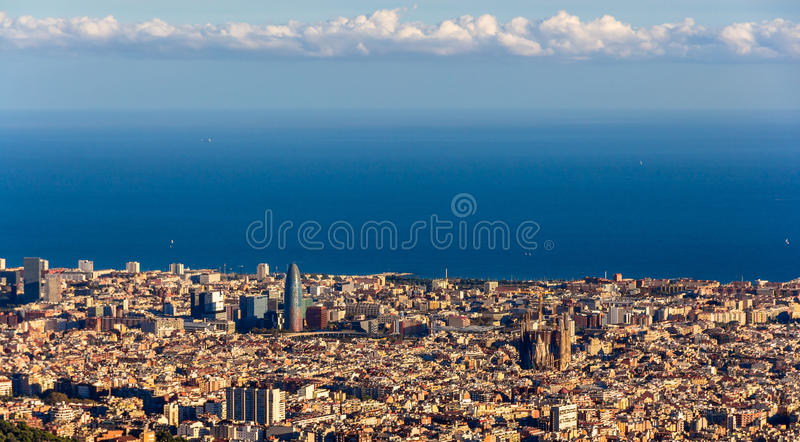 View of Barcelona with Sagrada Familia and Torre Agbar.  royalty free stock images