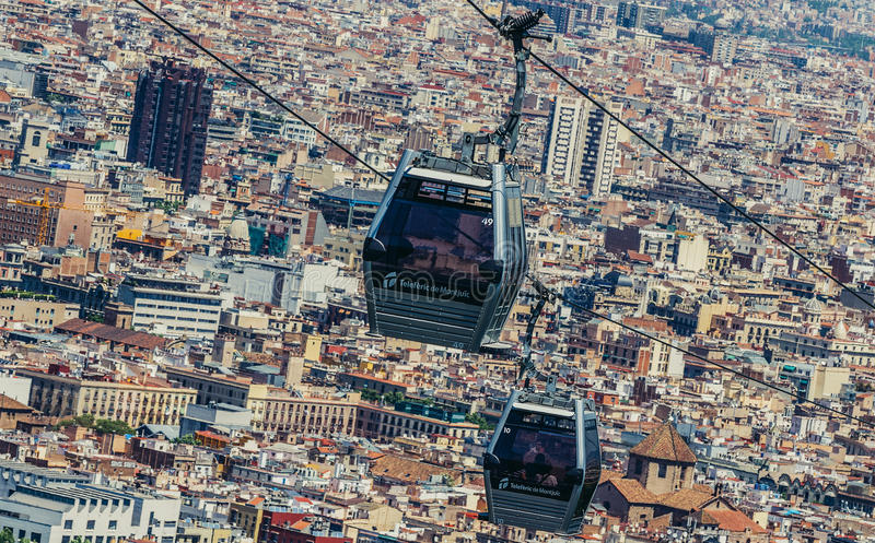 View in Barcelona. Barcelona, Spain - May 22, 2015. Montjuic Cable Car in Barcelona royalty free stock photos