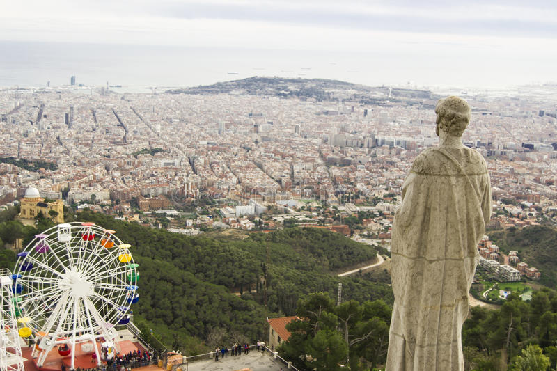 View of Barcelona from the temple on Tibidabo royalty free stock photo
