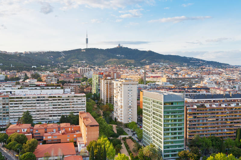 View on Barcelona and Tibidabo Mountain. With TV tower and Expiatory Church of the Sacred Heart of Jesus stock photos