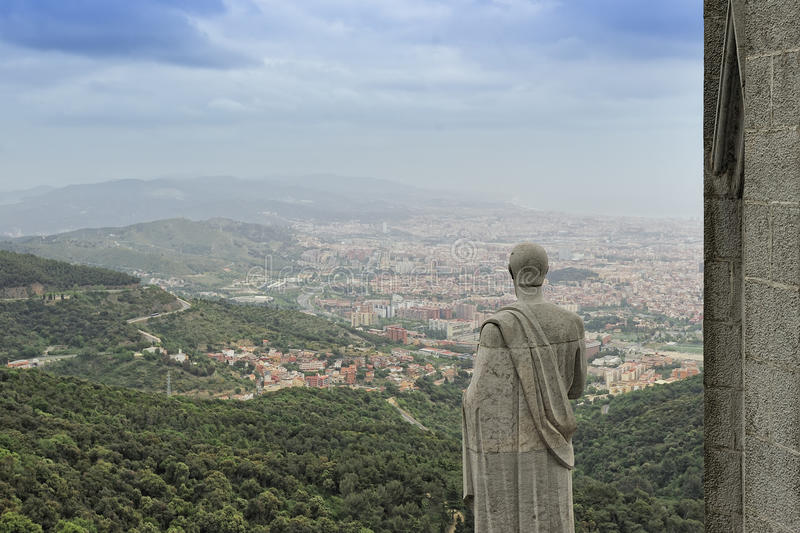 View of Barcelona from Tibidabo mountain. View of Barcelona from the Expiatory Church of the Sacred Heart of Jesus royalty free stock photos